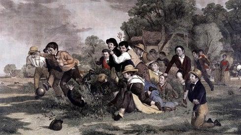 Hình minh họa môn mob football buổi sơ khai (ảnh: fifa.com)
